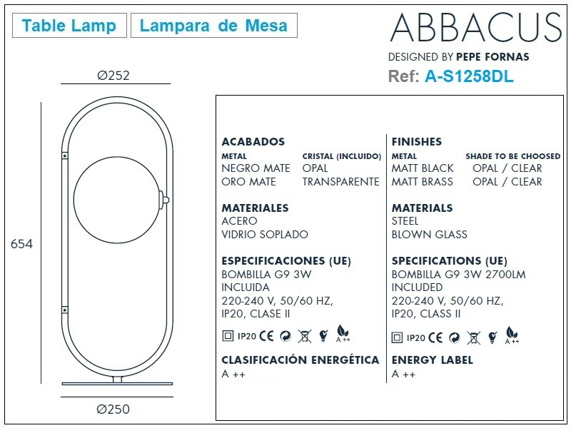 ABBACUS Table Lamp Design Ref.A-S1258DL by Aromas