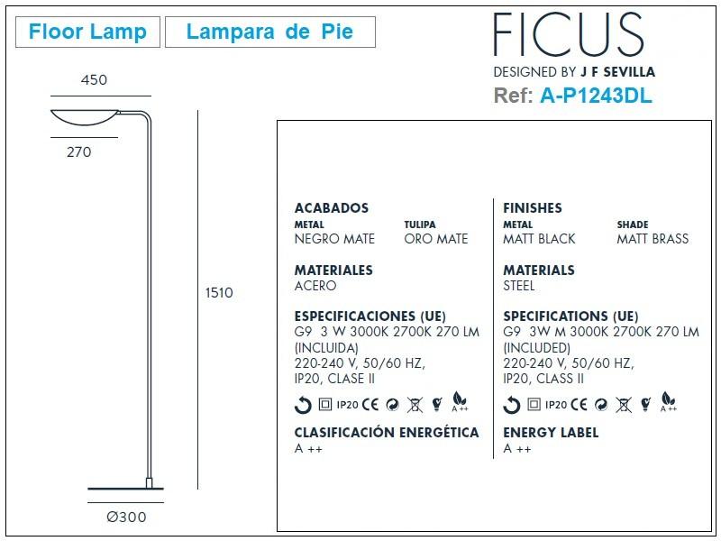 Ficus Floor Lamp Design by J. F. Sevilla-Aromas Size
