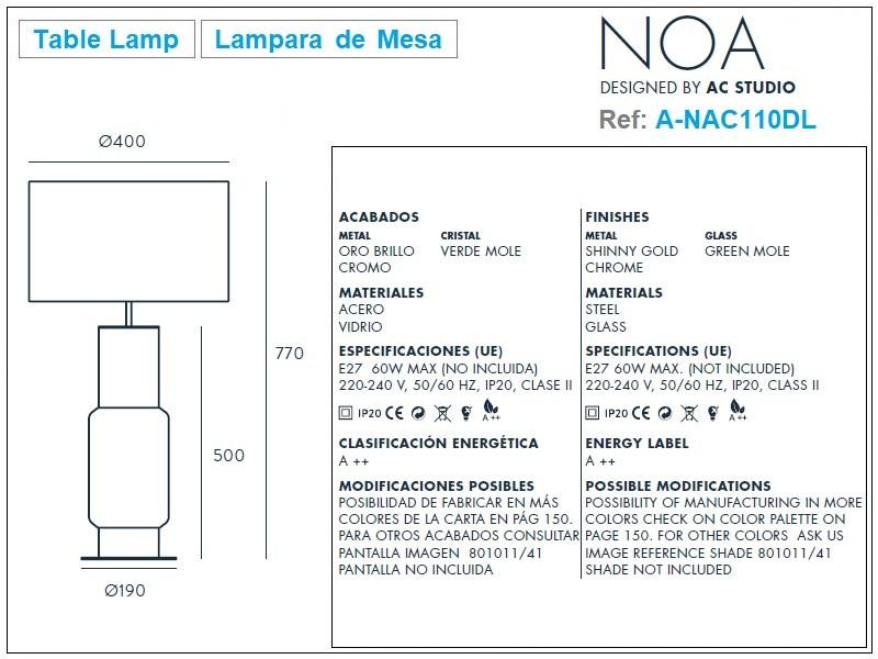 NOA Table Lamp Design Ref.A-NAC110DL by Aromas
